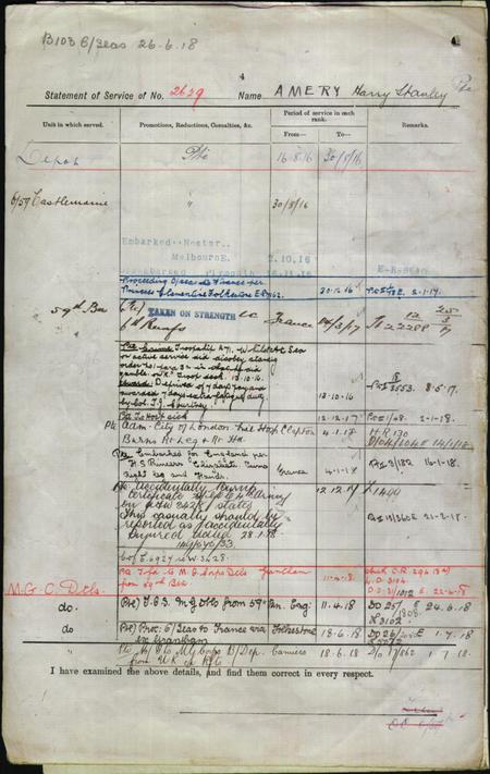 SERVICE RECORD HARRY STANDLY AMERY PAGE 2