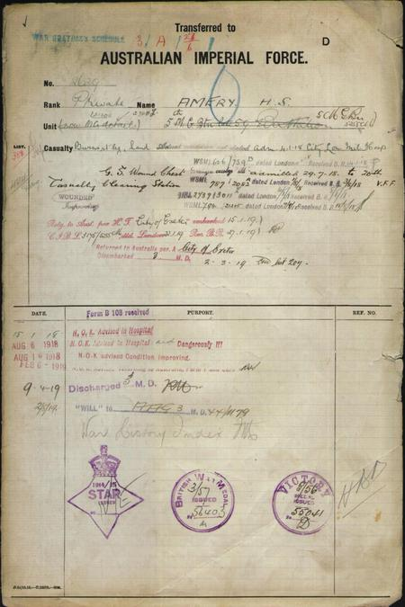 SERVICE RECORD HARRY STANLEY AMERY PAGE 4