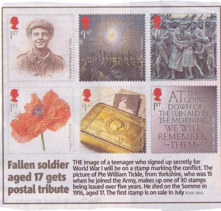 Fallen soldier aged 17 gets postal tribute