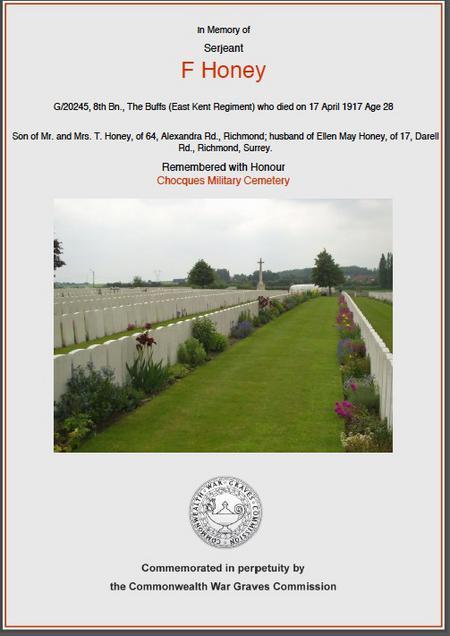 Sgt F Honey G/20245 East Kent Regiment
