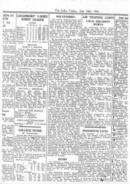 Newspaper Article Loughborough Echo