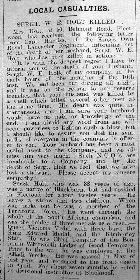Sergt. W E Holt - Killed