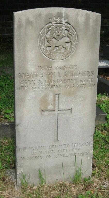 Matthew Chilvers CWGC stone