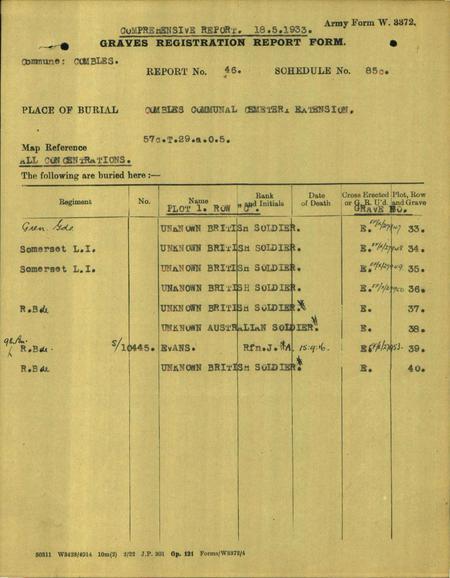 CWGC Grave allocation