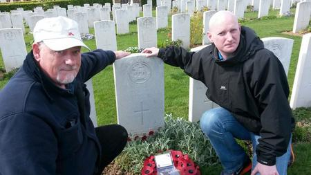 Family at Private James E Beaneys Grave