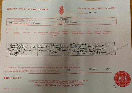Copy of Birth Cert for William James Harrison