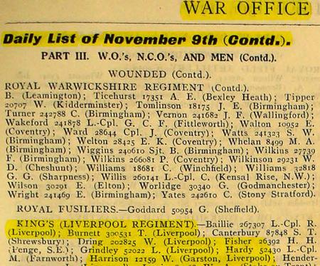 War Office Casualty List