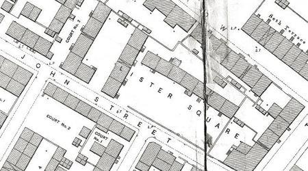 Map snip of John Street & Lister Square