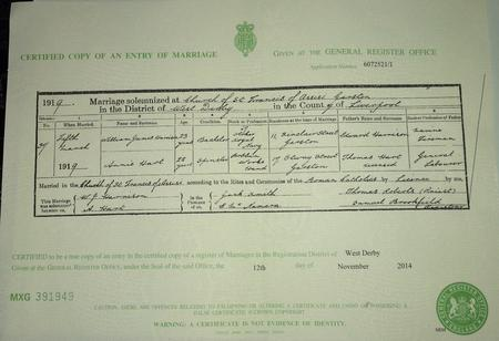 Copy of Marriage Certificate of William to Annie