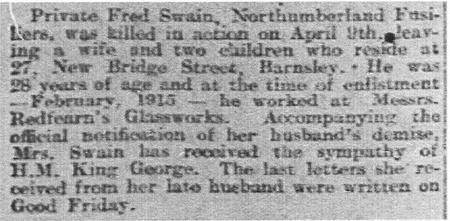 Fred Swain obit from Barnsley Chronicle