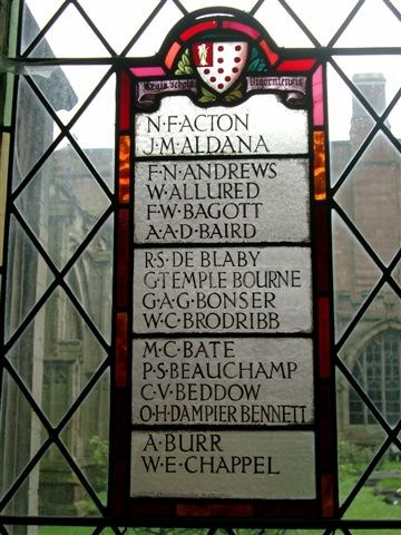 Memorial Window, Worcester Cathedral Cloisters.