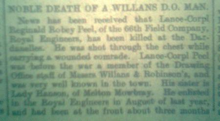 News paper report of his death.