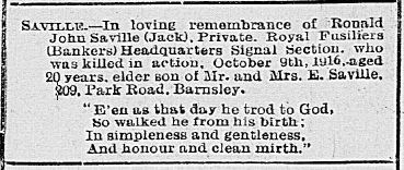 Death Notice from Barnsley Chronicle