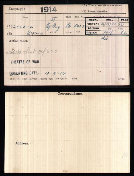 medal card for reginald Lockie