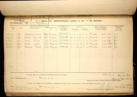 Silver War Badge record for Reginald Lockie