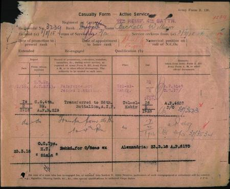page from servcie records showing service in 1916