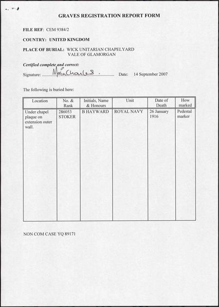 CWGC Graves registration report