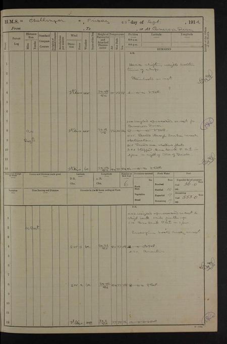 Ships log 25-09-1914