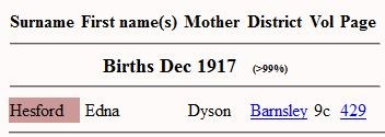 Free BMD snip showing Edna Hesford's birth entry