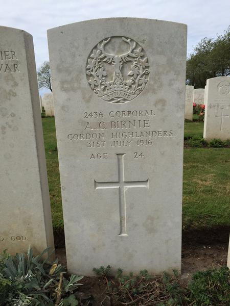 Alick's Headstone, Caterpillar Valley Cemetery, Fr