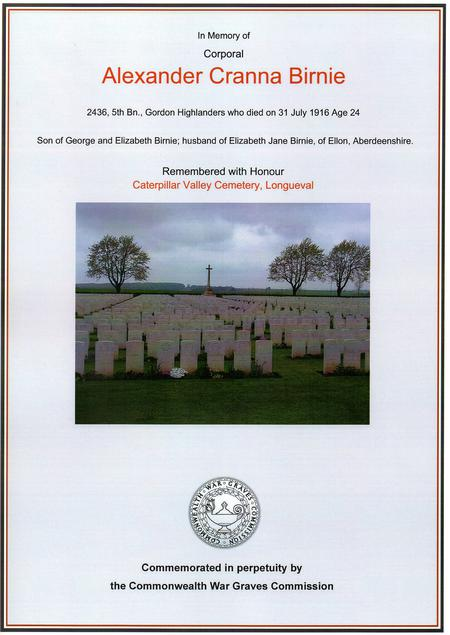 Alick's C.W.G.C. commemoration.