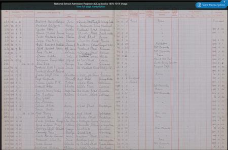 National School Admission 1870 - 1910