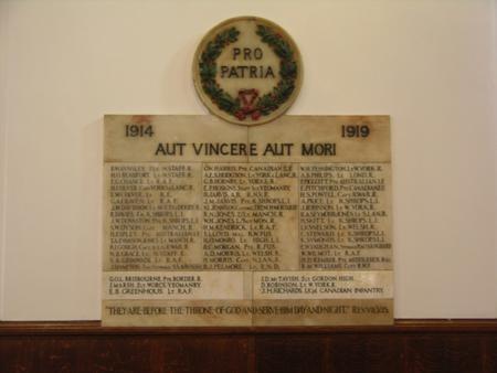 O.W. War Memorial 1914-1919, Wrekin College Chapel