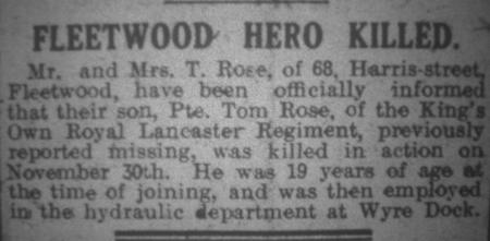 Fleetwood Hero Killed