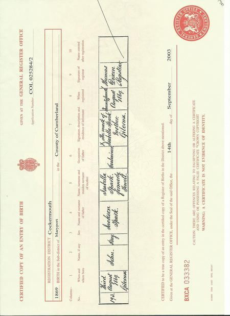 John Sparks' birth certificate