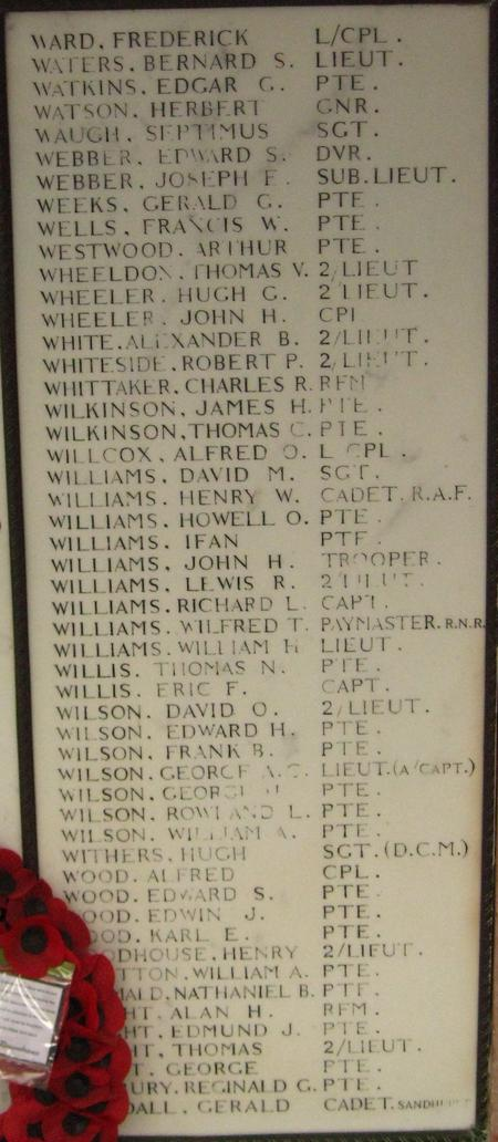 Image of name on Memorial