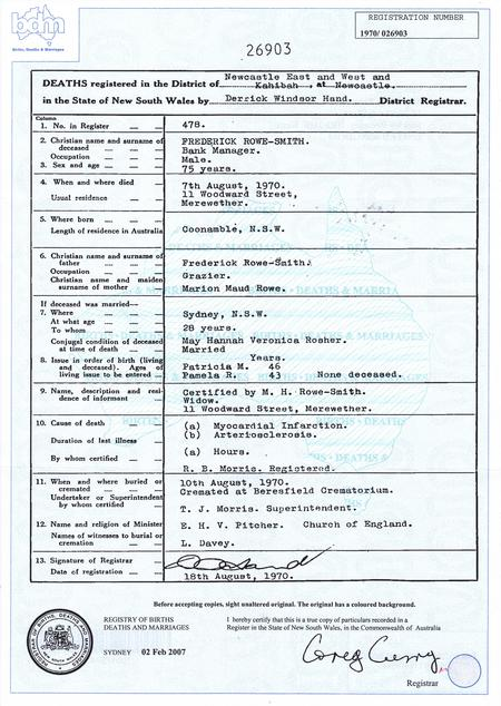 Frederick Rowe-Smith copy of death certificate