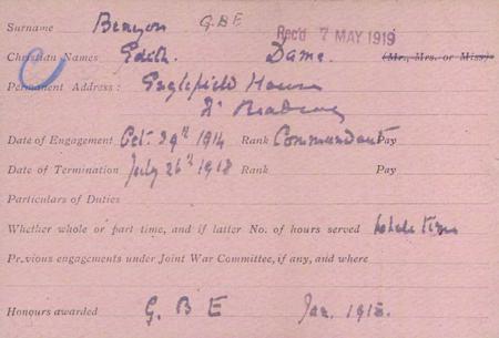 Edith Benyon's Red Cross card