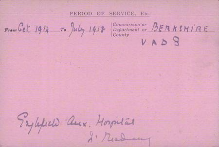 Edith Benyon's Red Cross card 2