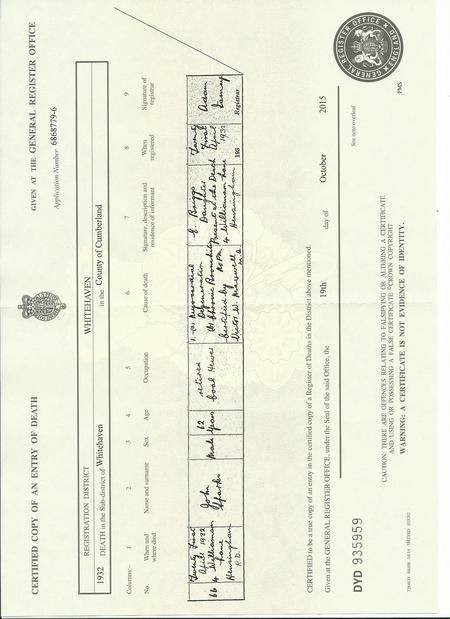 John Sparks death certificate