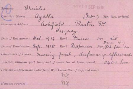Agatha's service record card