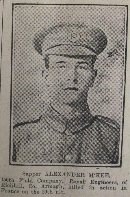 Sapper Alexander McKee of Richhill, Co. Armagh