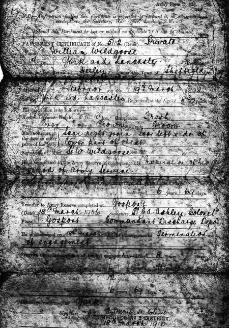 1910 discharge certificate page 1