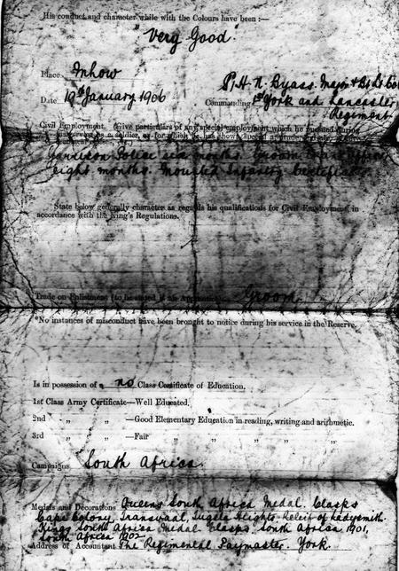 1910 discharge certificate page 2