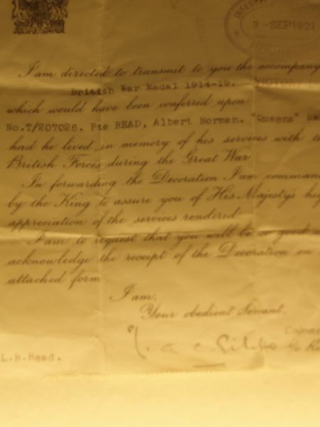 Letter accompanying War Medal