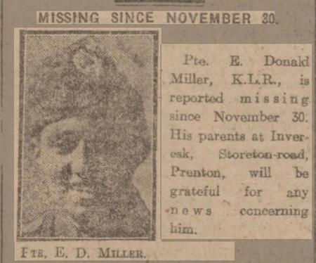 Report of E D Miller being missing