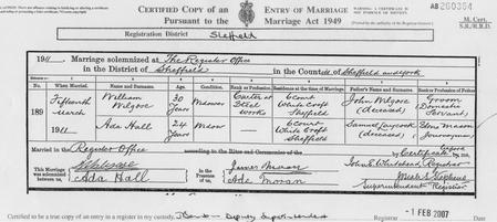 1911 Marriage Certificate