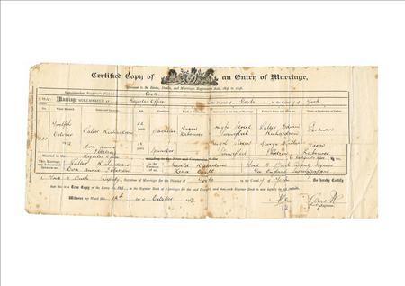 Walter Richardson's Marriage Certificate