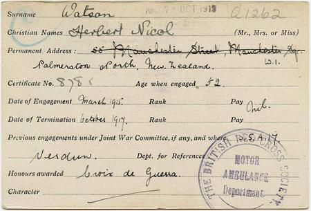 Personnel Index Card for Herbert Nicol Watson