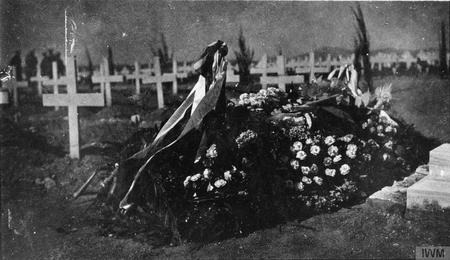 British and Serbian flags on her grave