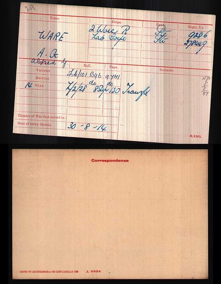 Army WWI Medal Rolls Index Cards, 1914-1920