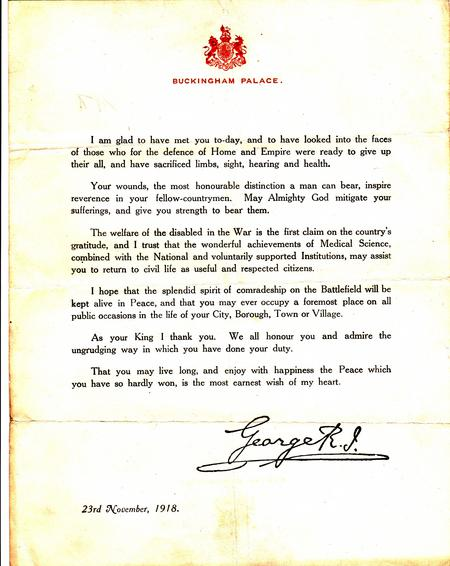 Printed letter from King George VI