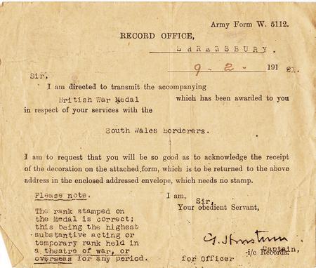 Letter accompanying British War Medal
