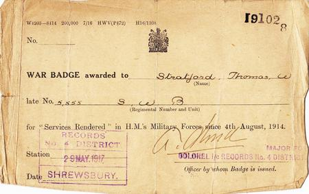Certificate for Silver War Badge