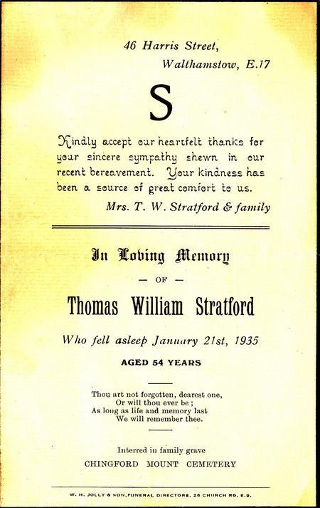 Memorial card commemorating Tom's death