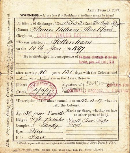 Army Form B 2079 - Discharge Certificate